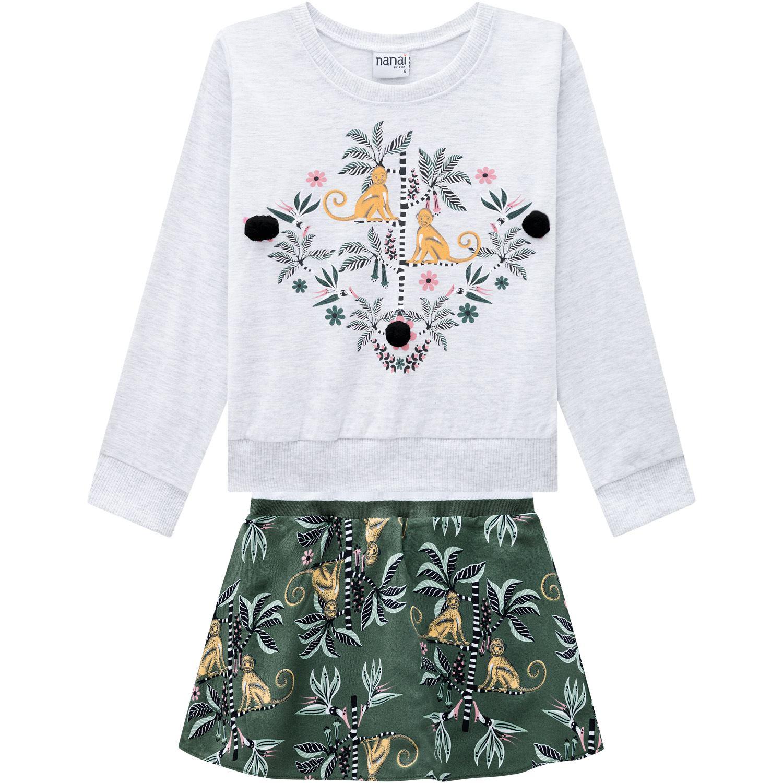 Conjunto Infantil Feminino Blusa + Saia Nanai
