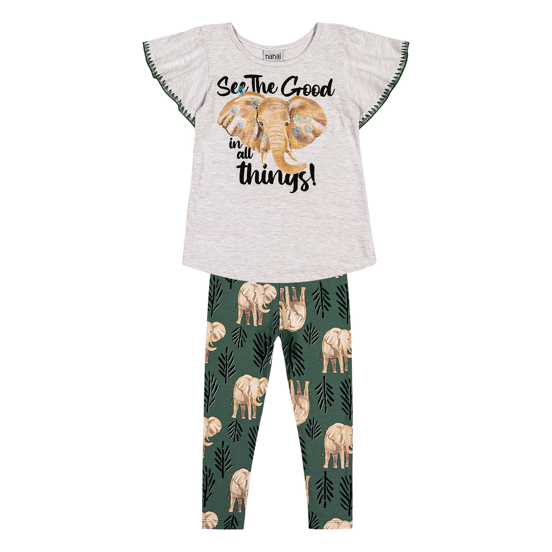Conjunto Infantil Feminino Blusa + Legging Nanai