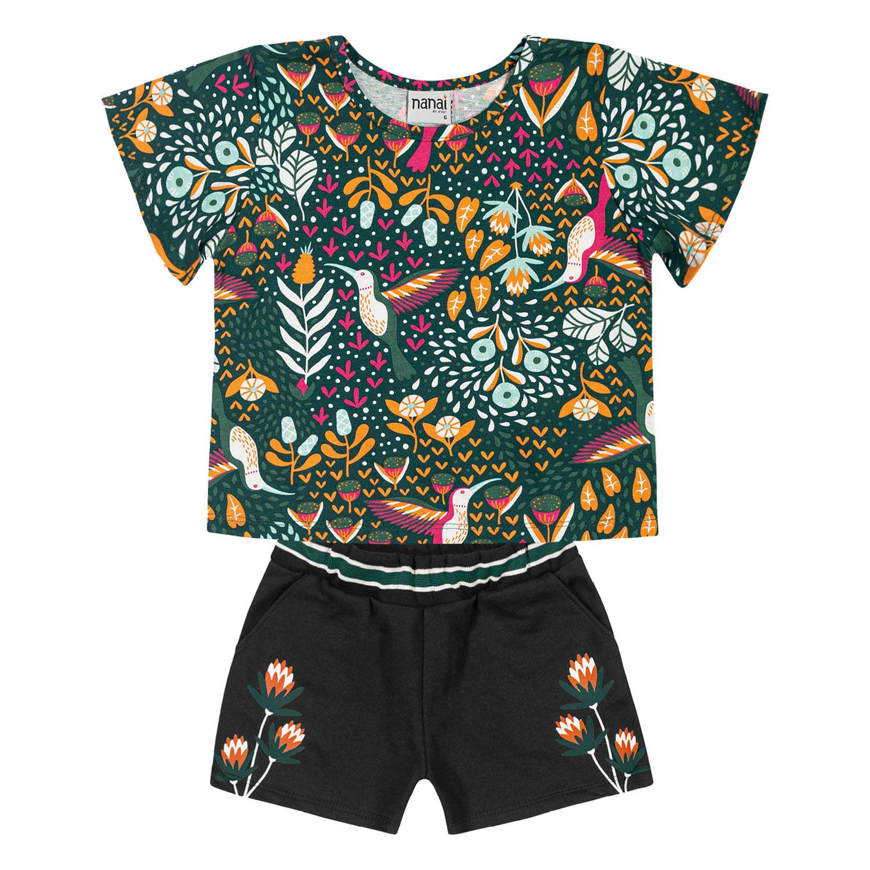 Conjunto Infantil Feminino Blusa + Short Nanai